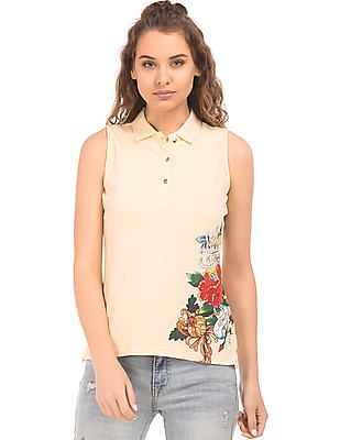 EdHardy Women Printed Side Sleeveless Polo Shirt