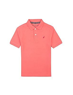 Nautica Kids Boys Solid Pique Polo Shirt