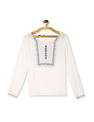 Bronz White Embroidered Woven Top