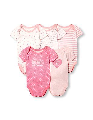 The Children's Place Baby Girls Layette Short Sleeve Kitty Family Love Bodysuit 5-Pack