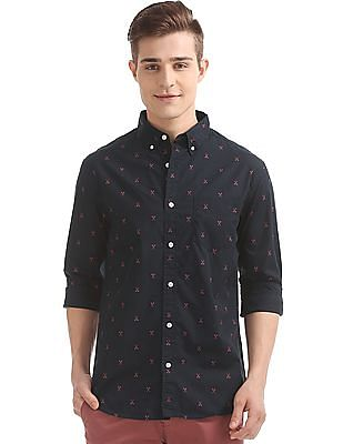 Aeropostale Button Down Collar Scissor Print Shirt