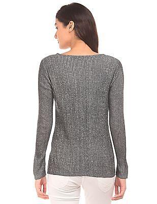 Elle Patterned Knit Round Neck Top