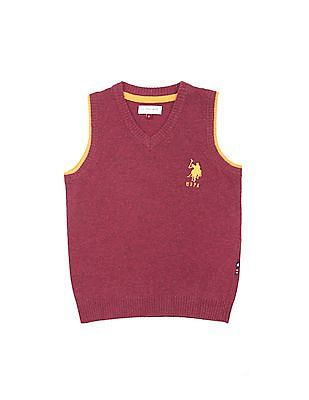 U.S. Polo Assn. Kids Boys Regular Fit Lambswool Sweater Vest