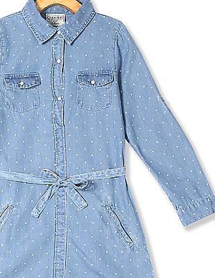 Cherokee Blue Girls Polka Dot Shirt Dress
