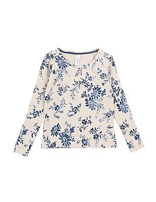 U.S. Polo Assn. Kids Girls Floral Printed Shimmer Top