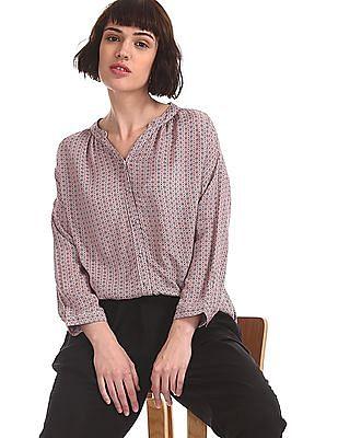 U.S. Polo Assn. Women Red Mandarin Neck Printed Shirt