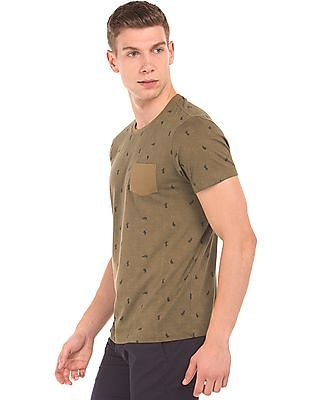 Arrow Sports Patch Pocket Cactus Print T-Shirt