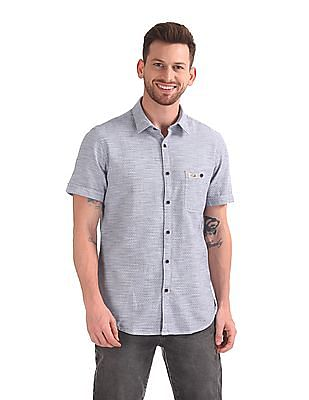 U.S. Polo Assn. Denim Co. Short Sleeve Patterned Shirt