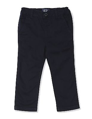 The Children's Place Baby Boys Blue Skinny Fit Solid Chinos