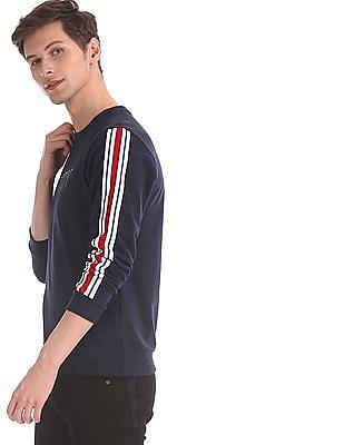 Ed Hardy Blue Striped Sleeve Crew Neck Sweatshirt