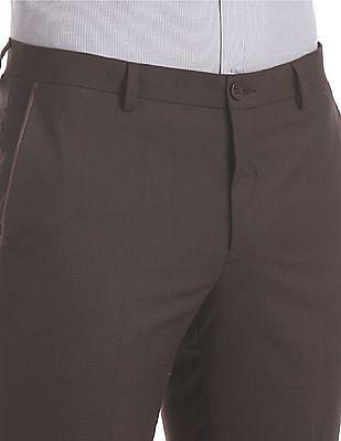 Excalibur Brown Super Slim Fit Patterned Trousers