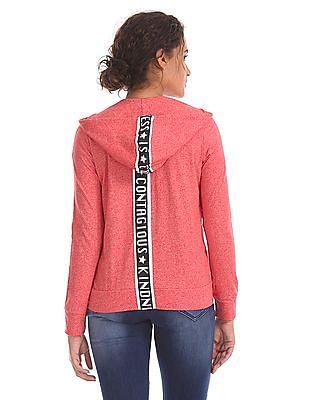Flying Machine Women Hooded Zip Up Sweatshirt