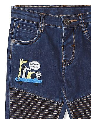Donuts Blue Boys Embroidered Accent Jeans