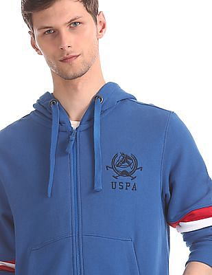 U.S. Polo Assn. Blue Panelled Sleeve Hooded Sweatshirt