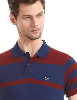 Ruggers Blue Ribbed Collar Contrast Stripe Polo Shirt
