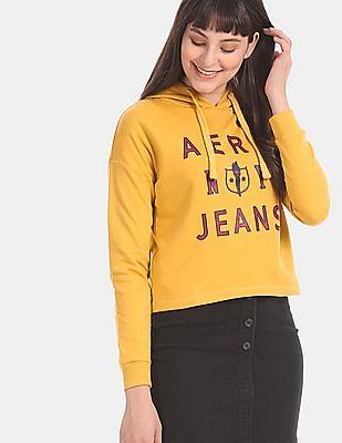 Aeropostale Yellow Brand Print Hooded Sweatshirt