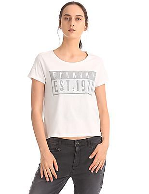 EdHardy Women Ribbed Neck Embellished T-Shirt