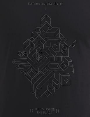 Flying Machine Contrast Print Crew Neck T-Shirt