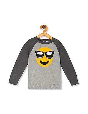 The Children's Place Grey Toddler Boy Raglan Sleeve Graphic Sweater