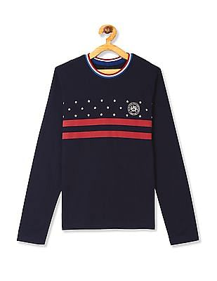 U.S. Polo Assn. Kids Blue Boys Printed Front Tipped T-Shirt