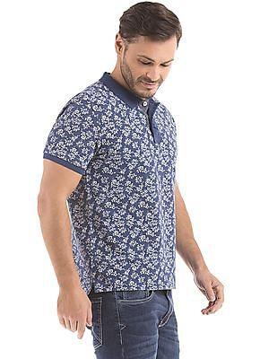 Flying Machine Floral Print Regular Fit Polo Shirt