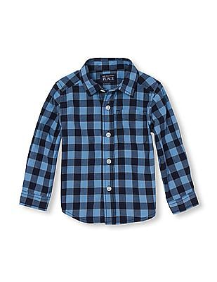 The Children's Place Toddler Boy Long Sleeve Check Print Twill Button-Down Shirt