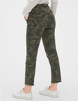 GAP Green Women Girlfriend Utility Chinos With Raw Hem