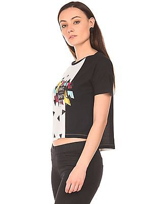 SUGR Geometric Print Monochrome Top