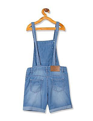 Cherokee Girls Distressed Chambray Dungarees