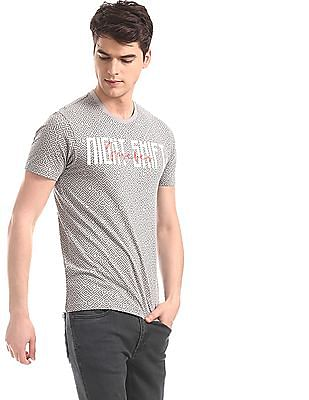 Flying Machine Grey Cotton Printed T-Shirt