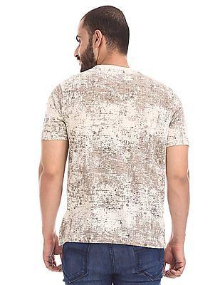 Cherokee Beige Crew Neck Distressed Print T-Shirt