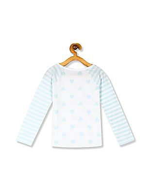 The Children's Place Toddler Girl Active Long Striped Raglan Sleeve Heart Print Top