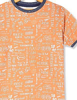 U.S. Polo Assn. Kids Orange Boys Printed Slub T-Shirt