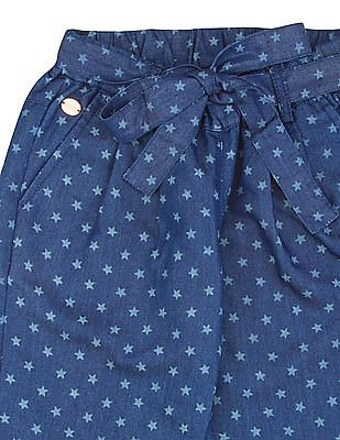 U.S. Polo Assn. Kids Girls Star Print Chambray Joggers