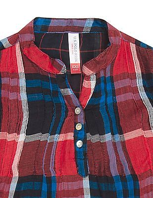 U.S. Polo Assn. Kids Girls Check Popover Top