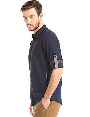True Blue Solid Slim Fit Shirt