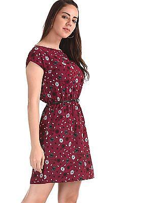 Elle Studio Red Extended Sleeve Printed Dress