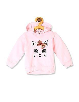 Donuts Pink Girls Bow Sequin Hooded Sweatshirt