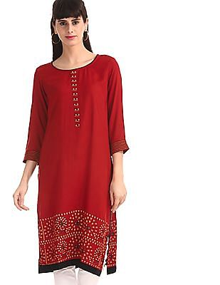 Karigari Red Round Neck Printed Kurta