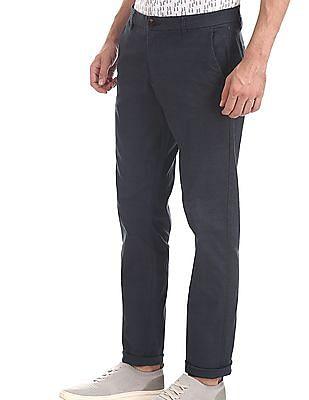 Ruggers Blue Modern Slim Fit Printed Trousers