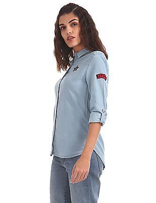 EdHardy Women High Low Denim Shirt