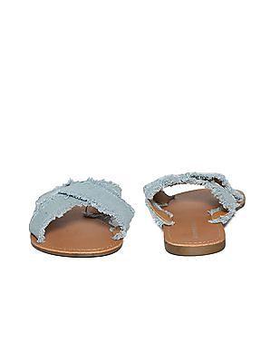 Aeropostale Frayed Denim Strap Sandals