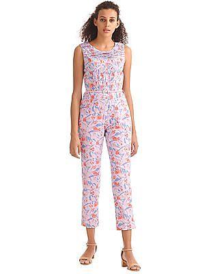 Elle Floral Print Belted Jumpsuit