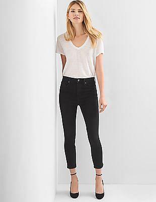 GAP Women Black Super High Rise True Skinny Crop Jeans
