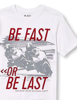 The Children's Place Boys Short Sleeve 'Be Fast Or Be Last Maximum Speed Maximum Power' Motocross Graphic Tee