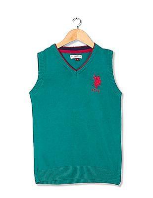 U.S. Polo Assn. Kids Girls Solid Sweater Vest