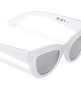 The Children's Place Silver Girls Glittery Cateye Frame Sunglasses