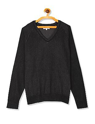 U.S. Polo Assn. Black Raglan Sleeve V-Neck Sweater