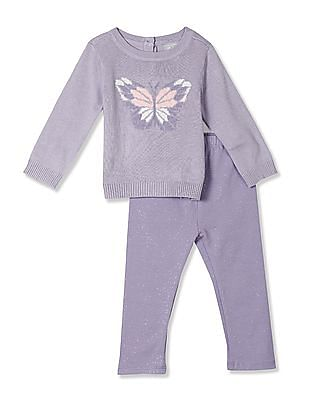 The Children's Place Baby Long Sleeves Butterfly Sweater And Glitter Leggings 2-Piece Set