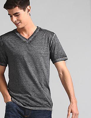 GAP Men Grey Burnout V-Neck T-Shirt
